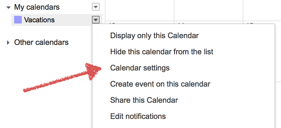 Open calendar settings