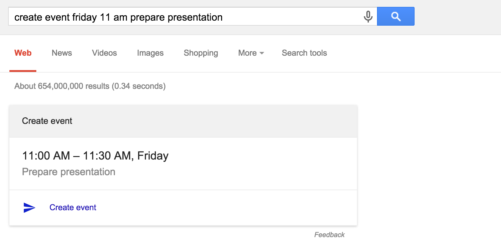 Create Google Calendar events with Google Search