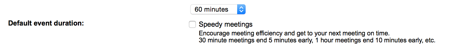 Change the Google Calendar default meeting duration