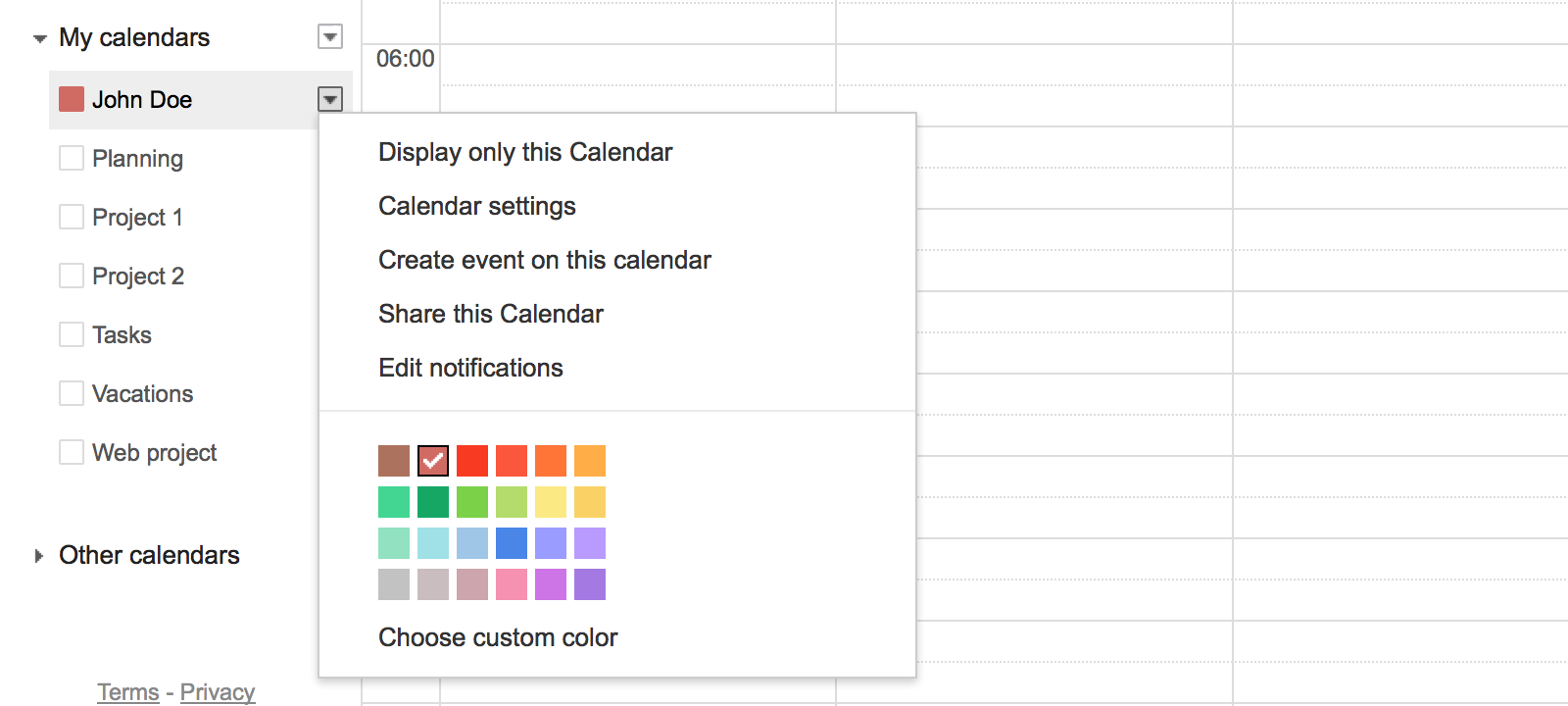 Color code your separate calendars
