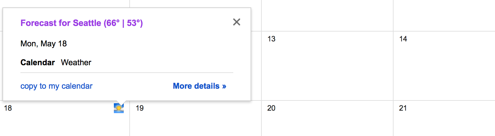 Show the weather for your Google Calendar event