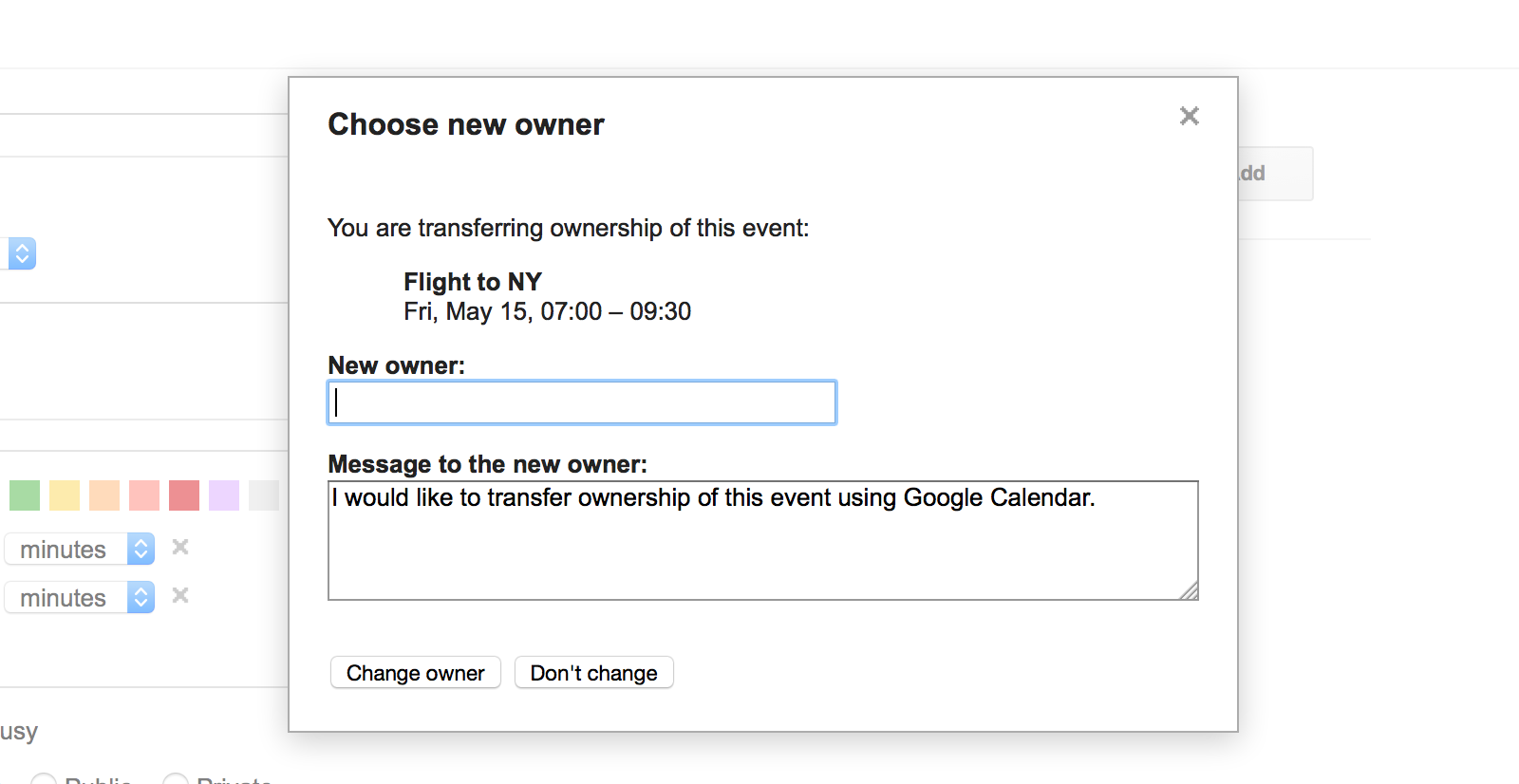 Transfer Google Calendar event ownership