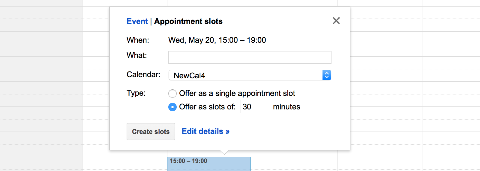 Appointment slots with Google Calendar