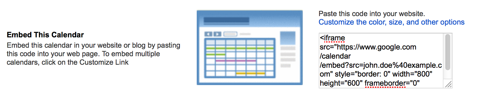 Embed Google Calendar into a website