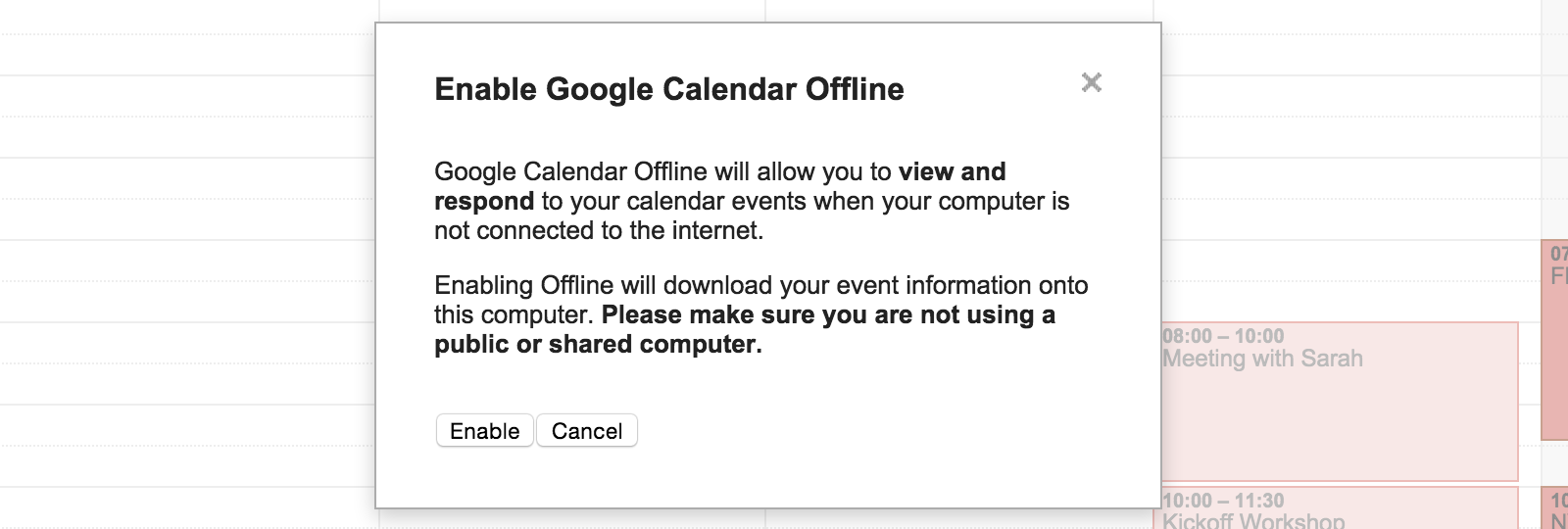 Google Calendar offline mode