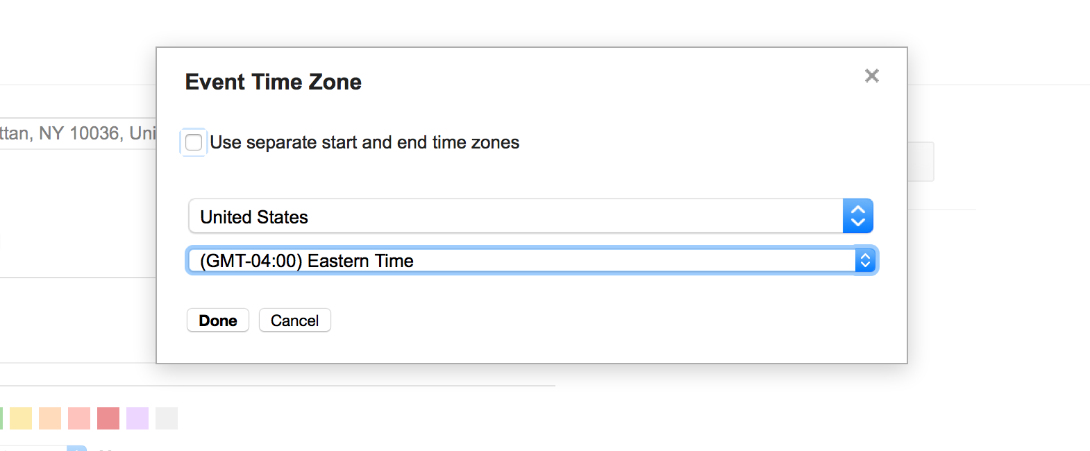 How to specify a timezone for a Google Calendar event