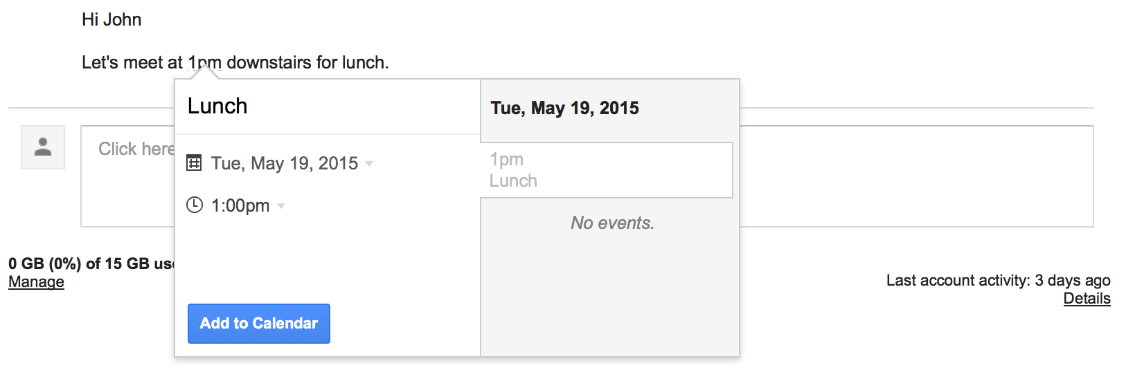 Create Google Calendar events from emails