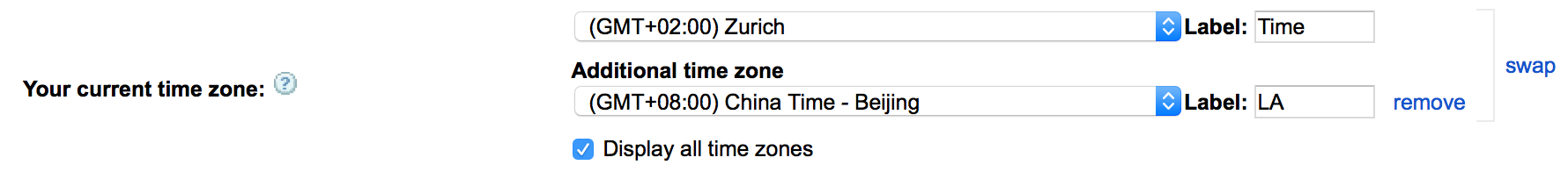View multiple time zones in Google Calendar