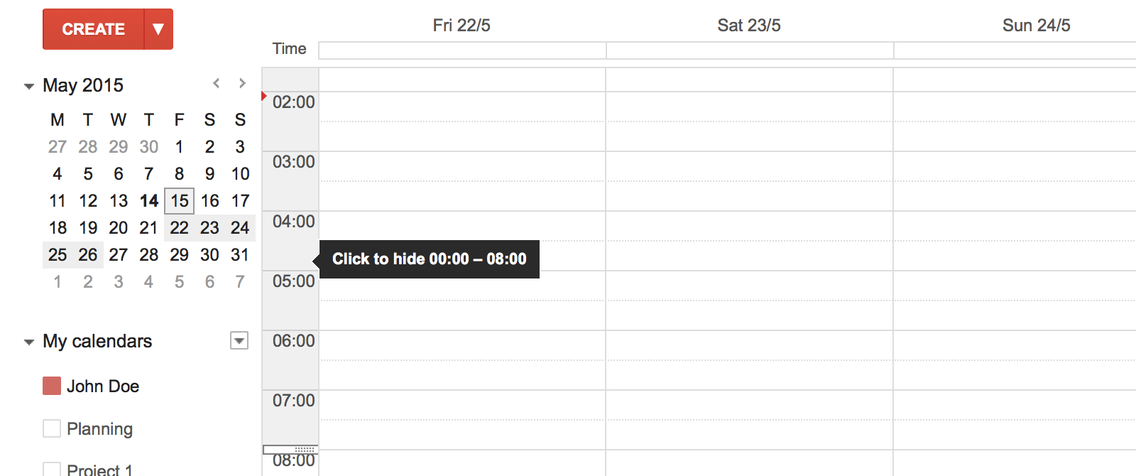 Hide non work hours setting in Google Calendar