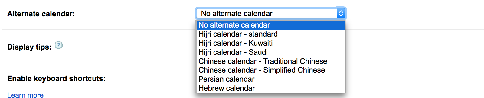 Use a Chinese or Hebrew calendar